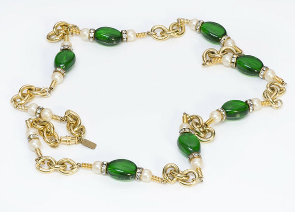 Kenneth Jay Lane KJL Green Beads Pearl Chain Necklace2