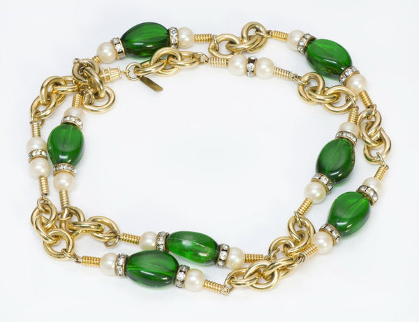 Kenneth Jay Lane KJL Green Beads Pearl Chain Necklace