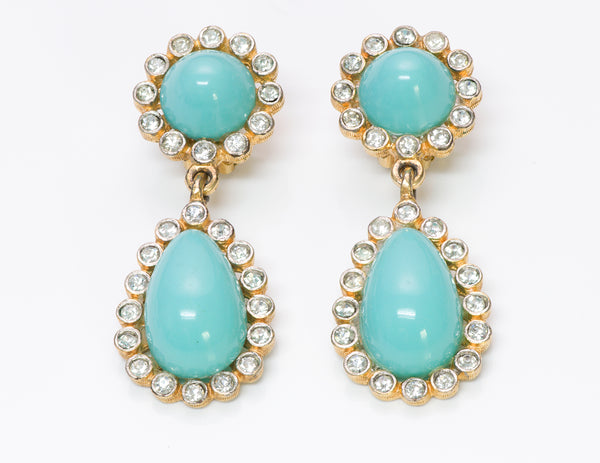 Kenneth Jay Lane KJL Turquoise Crystal Drop Earrings