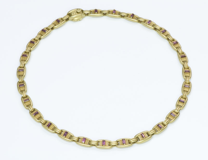 Barry Kieselstein Cord 18K Gold Pink Tourmaline Necklace