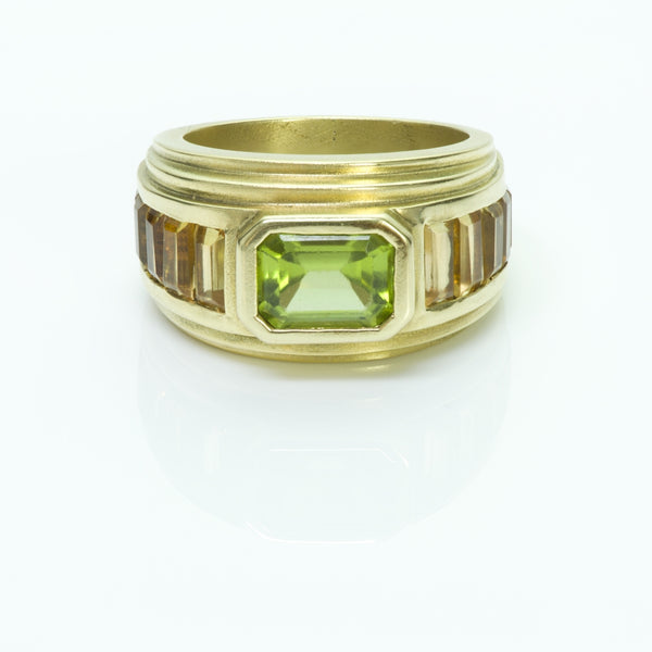 Barry Kieselstein-Cord Gold Peridot & Topaz Ring