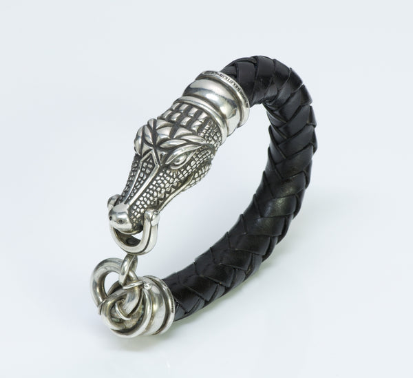 B. Kieselstein Cord Sterling Silver Crocodile Alligator Leather Bracelet