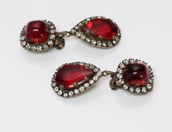 Kenneth Jay Lane KJL 1960 Red Crystal Earrings