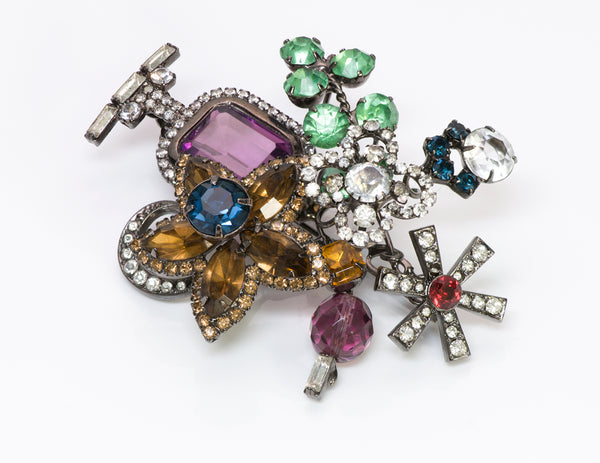 Lawrence Vrba Multi Color Crystal Flower Brooch