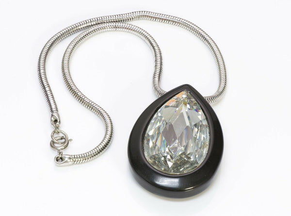 LANVIN Resin Teardrop Crystal Pendant Chain Necklace