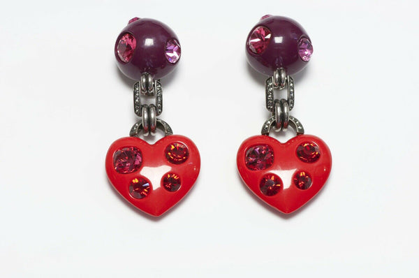 LANVIN Paris Crystal Heart Earrings