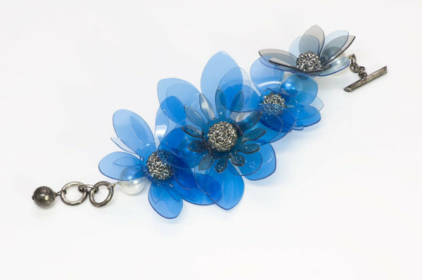 Lanvin Paris Blue Plastic Pearl Crystal Flower Chain Bracelet 2