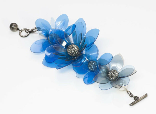 Lanvin Paris Blue Plastic Pearl Crystal Flower Chain Bracelet