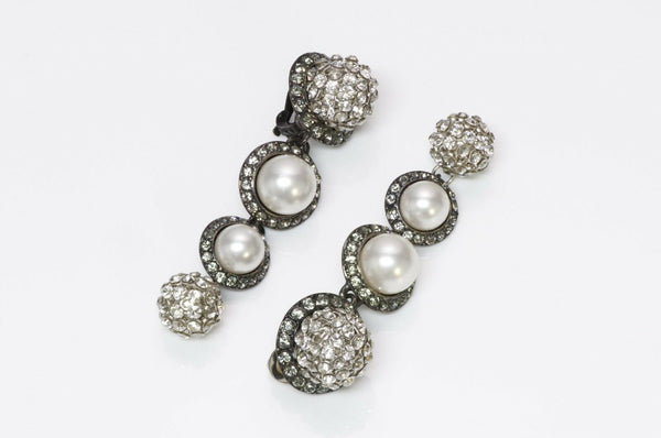 Lanvin Paris Pearl Crystal Drop Earrings