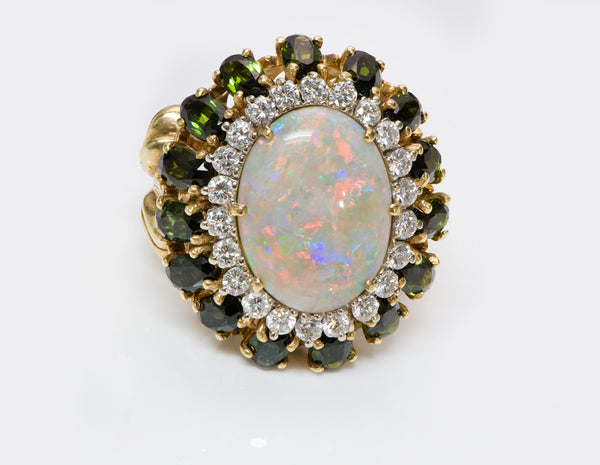 La Triomphe Opal Diamond Tourmaline Gold Ring