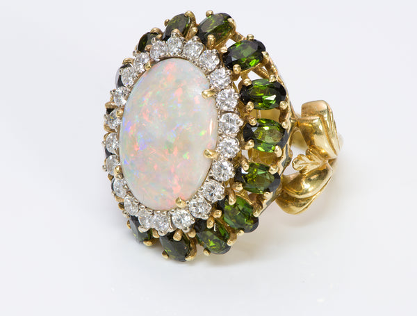 La Triomphe Opal Diamond Tourmaline Cocktail Gold Ring