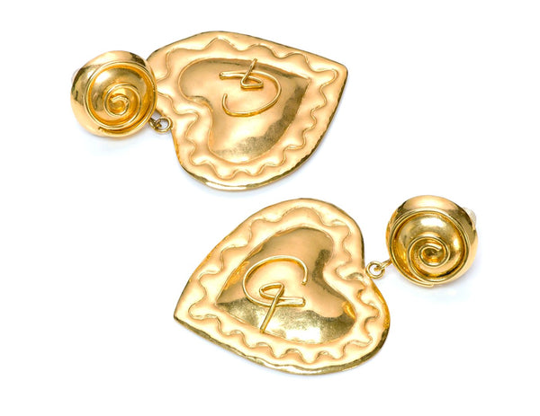 Christian Lacroix Paris Couture Gold Tone Heart Earrings
