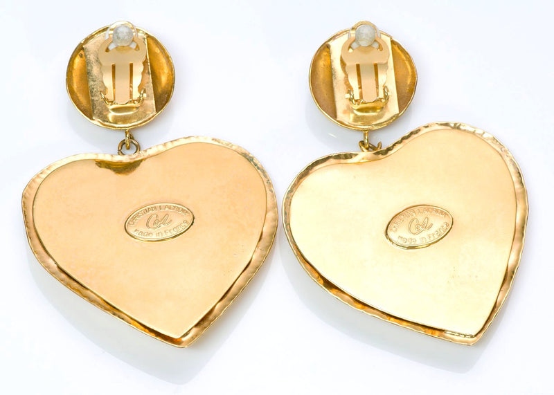 Christian Lacroix Paris Gold Tone Heart Earrings