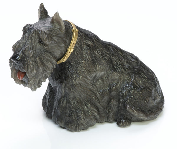 Labradorite Dog Carving Gold Collar
