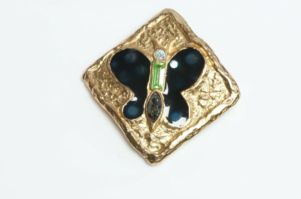 Christian Lacroix Blue Enamel Green Crystal Butterfly Brooch