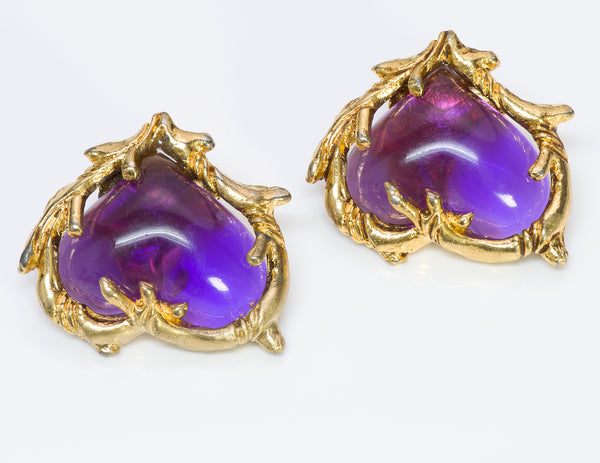 Christian Lacroix Couture Purple Heart Glass Earrings1