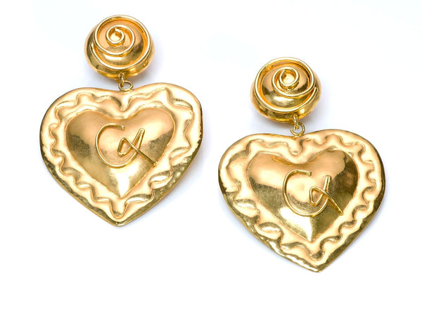 Vintage Christian Lacroix Paris Couture Gold Tone Heart Earrings