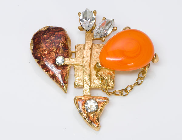 Christian Lacroix Enamel Heart Crystal Brooch