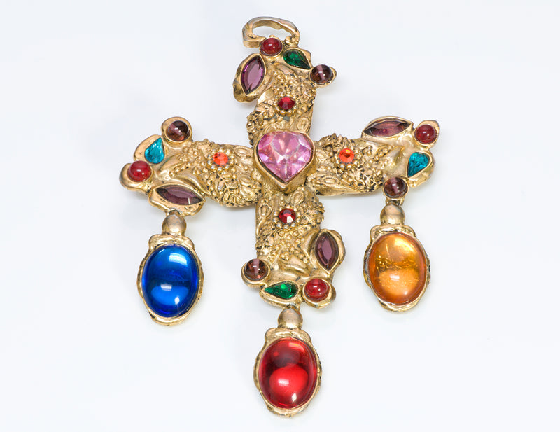 Christian Lacroix Paris Couture Heart Crystal Cross Brooch