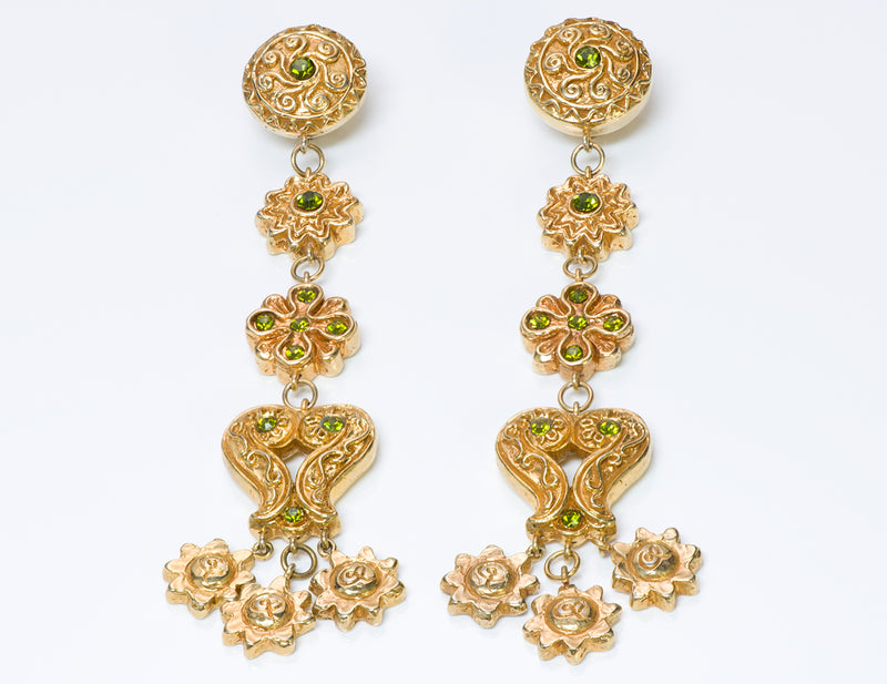 Christian Lacroix Couture Long Baroque Green Crystal Earrings