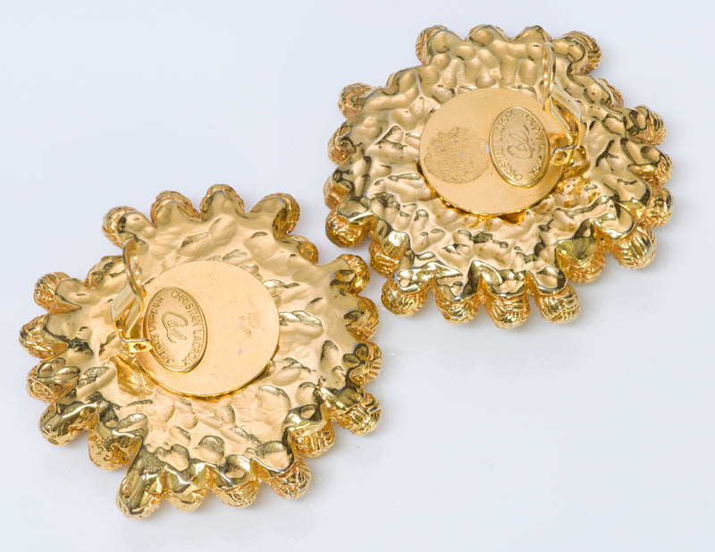 Christian Lacroix Baroque Style Gold Tone Earrings