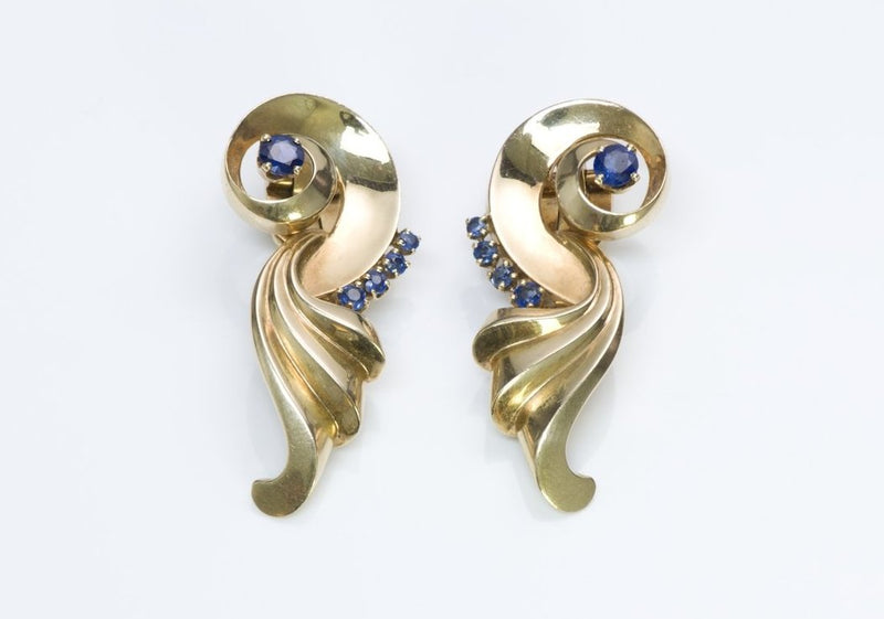 Lambert Brothers Gold Sapphire Earrings