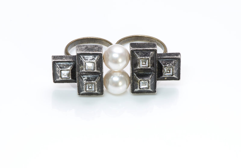 Lanvin Pearl Crystal Double Finger Ring