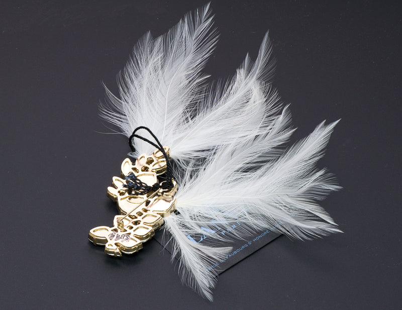 Lanvin Crystal Feather Brooch