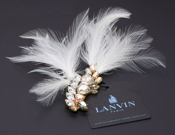 Lanvin Crystal Feather Bird Brooch