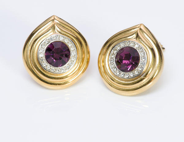 Lanvin Gold Tone Purple Crystal Earrings