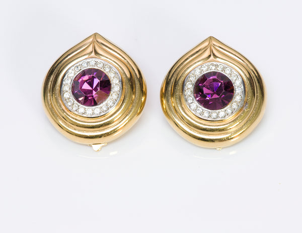 Lanvin Germany Gold Tone Purple Crystal Earrings