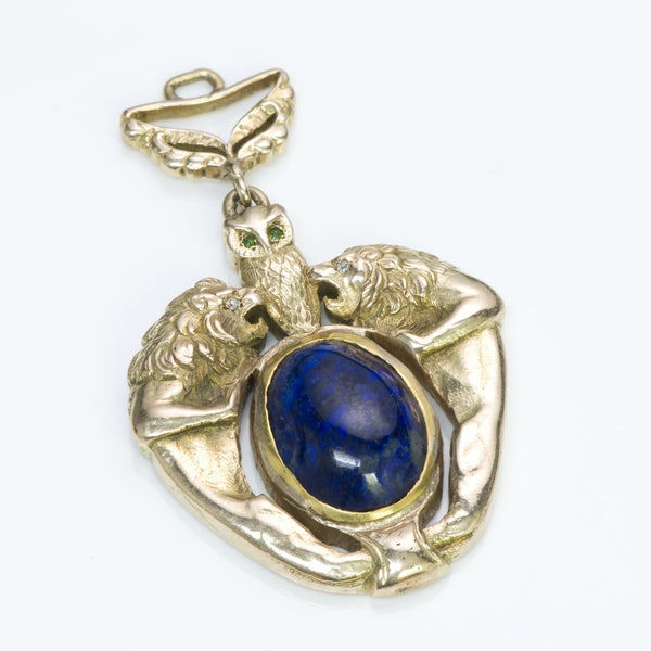 Antique Gold Lapis Owl & Lion Pendant