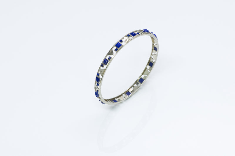 Lapis White Gold Bangle