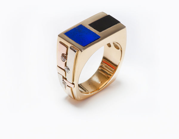 Men's Ring Gold Lapis Onyx Diamond