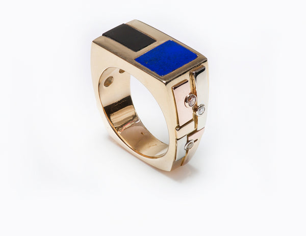 Lapis Onyx Mens Ring