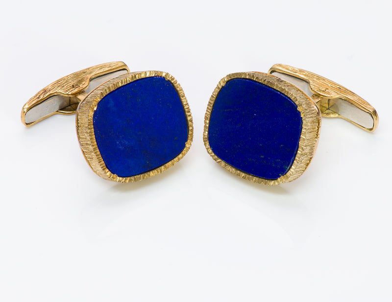 18K Gold Lapis Cufflinks
