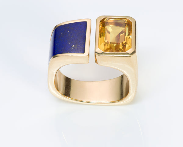 Ring 18K Gold Yellow Sapphire Lapis Ring