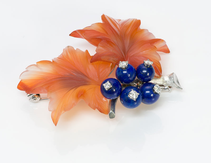 Vintage Diamond Carnelian Lapis Gold Flower Brooch Pin