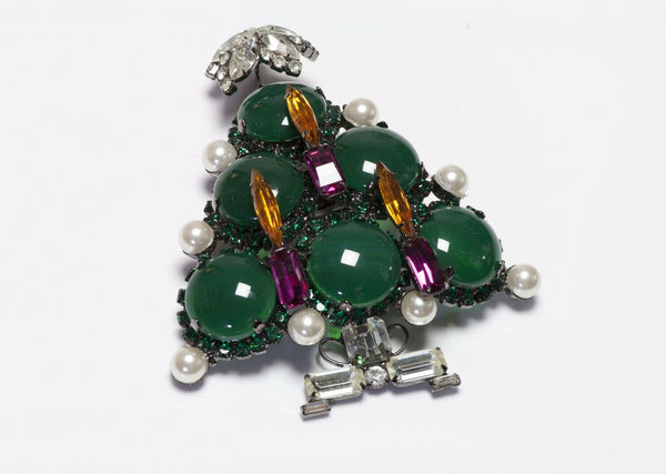 Lawrence VRBA Green Glass Christmas Tree Brooch