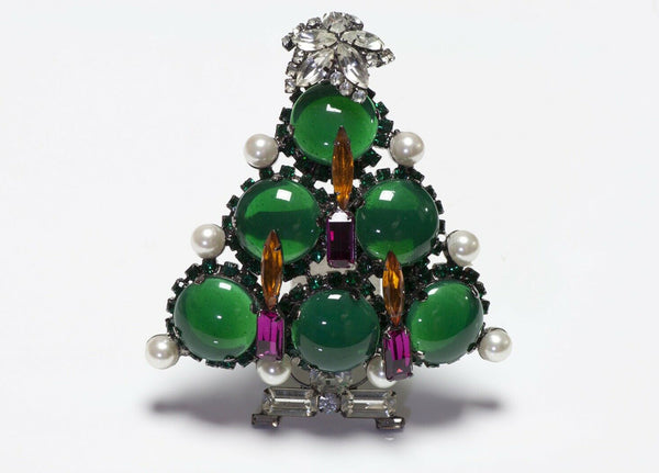 Lawrence VRBA Green Glass Christmas Tree Pendant Brooch