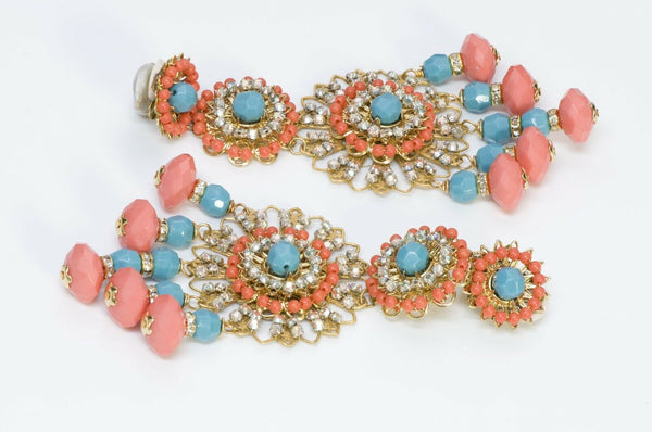 Lawrence VRBA Long Pink Blue Orange Crystal Beads Tassel Earrings