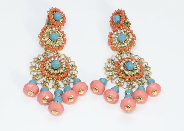Lawrence VRBA Pink Blue Orange Crystal Beads Tassel Earrings