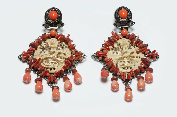 Lawrence VRBA Orange Carved Asian Style Earrings
