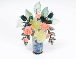 Lawrence VRBA Asian Flower Vase Bouquet Brooch