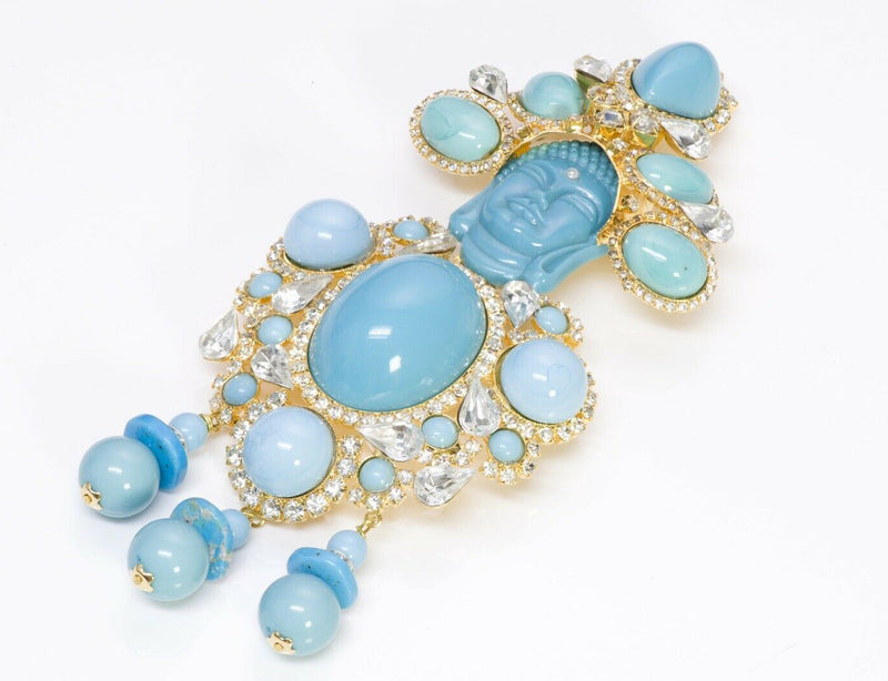 Lawrence VRBA Buddha Faux Turquoise Crystal Brooch 2