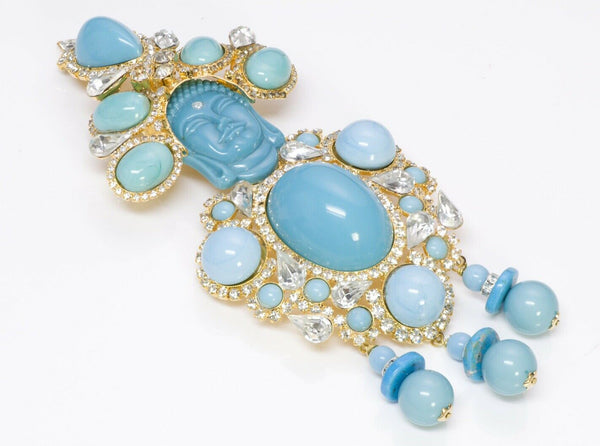 Lawrence VRBA Buddha Faux Turquoise Crystal Brooch