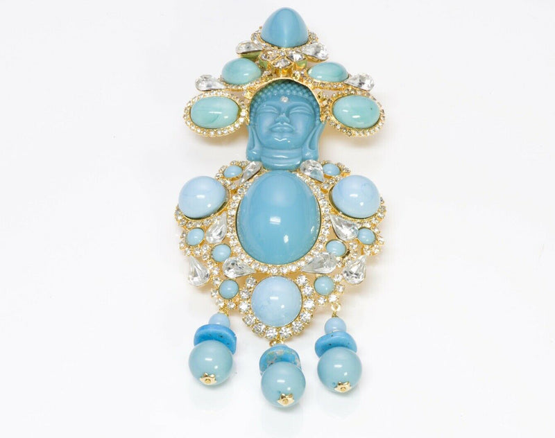 Lawrence VRBA Buddha Turquoise Crystal Brooch