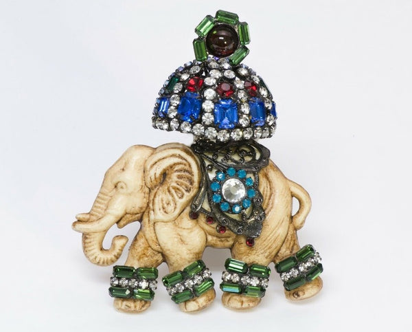 Lawrence VRBA Multi Color Crystal Elephant Brooch