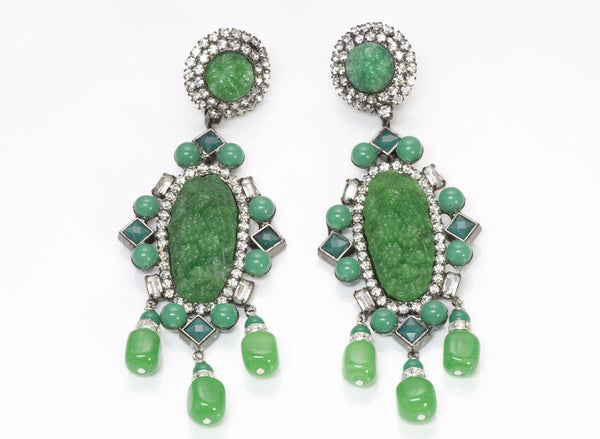 Lawrence Vrba Faux Jade Crystal Long Tassel Earrings