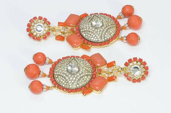 Lawrence VRBA Faux Orange Coral Crystal Tassel Earrings